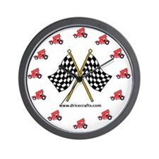 Red Sprint Car Wall Clock