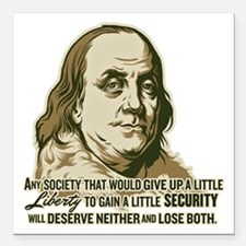 """Franklin On Security Square Car Magnet 3"""" x 3"""""""