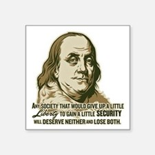 """Franklin On Security Square Sticker 3"""" x 3"""""""