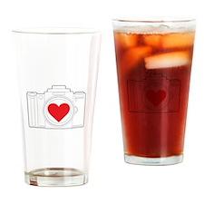 Camera Heart Drinking Glass
