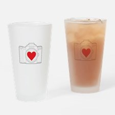 Camera Heart Drinking Glass