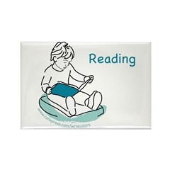 Child Reading Rectangle Magnet