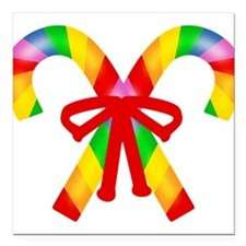 """rainbow-canes.png Square Car Magnet 3"""" x 3"""""""
