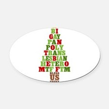 diversity-xmas-tree_tr.png Oval Car Magnet