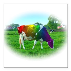 rainbow-cow_13-5x18h.jpg Square Car Magnet 3