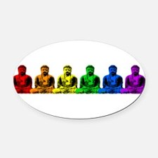 tr_buddhas-rainbow.png Oval Car Magnet