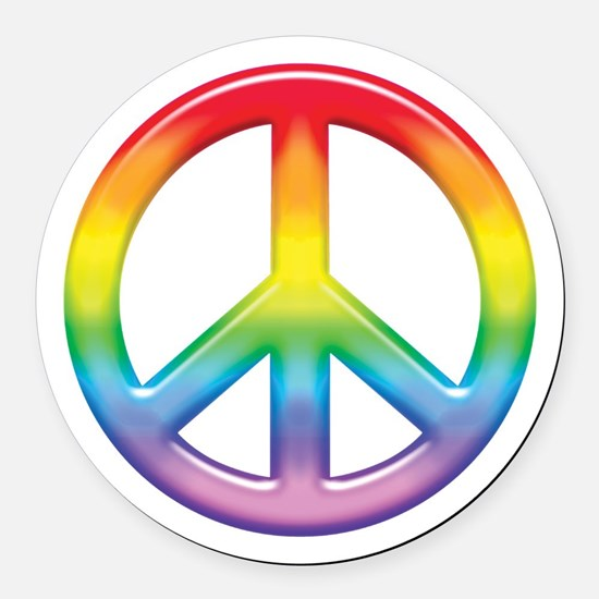 rainbow_peace.jpg Round Car Magnet