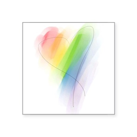 """watercolor-rainbow-heart_tr.png Square Sticker 3"""""""