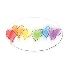 hearts-watercolor-row_tr.png Oval Car Magnet