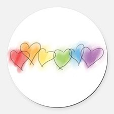 hearts-watercolor-row_tr.png Round Car Magnet