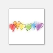 "hearts-watercolor-row_tr.png Square Sticker 3"" x 3"