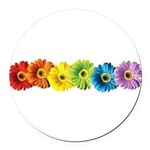 pop-daisy-rainbow.png Round Car Magnet