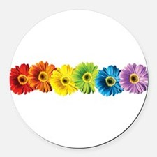 pop-daisy-rainbow.png Round Car Magnet