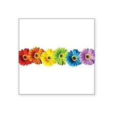 "pop-daisy-rainbow.png Square Sticker 3"" x 3"""