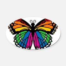 butterfly-rainbow2.png Oval Car Magnet