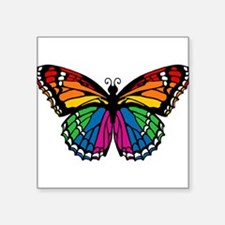 "butterfly-rainbow2.png Square Sticker 3"" x 3"""