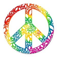 peace-peace-rainbow.png Round Car Magnet