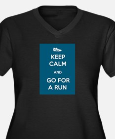 Keep Calm and Go For a Run Women's Plus Size V-Nec