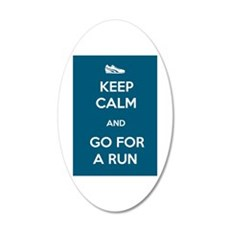Keep Calm and Go For a Run 22x14 Oval Wall Peel