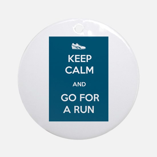 Keep Calm and Go For a Run Ornament (Round)