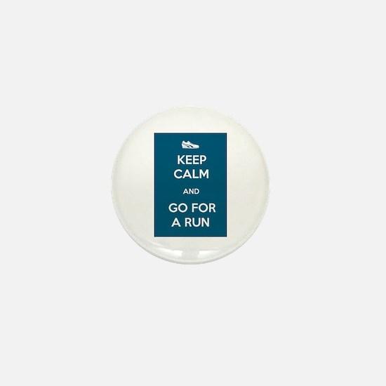 Keep Calm and Go For a Run Mini Button (10 pack)
