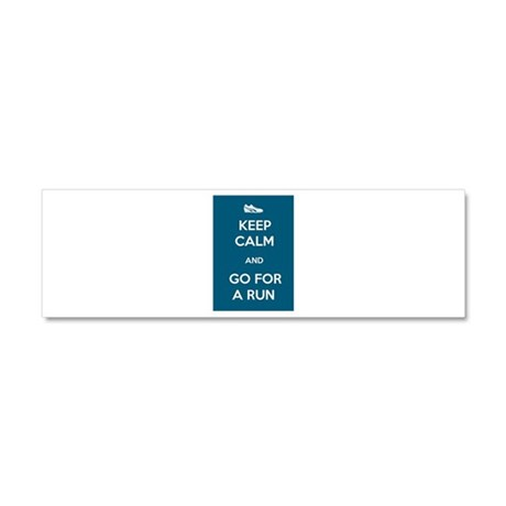 Keep Calm and Go For a Run Car Magnet 10 x 3