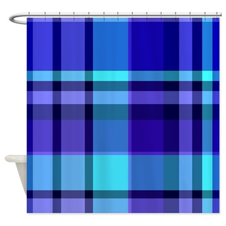 blue plaid shower curtain by thecafemarket