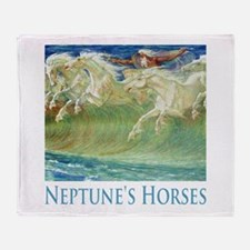 Neptune's Horses Throw Blanket