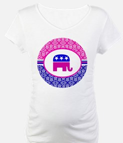 Pink and Blue Damask Republican Shirt
