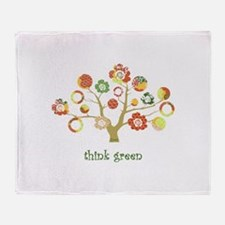 live green enviro tree Throw Blanket