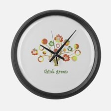 live green enviro tree Large Wall Clock