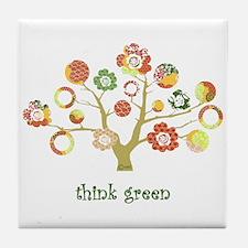live green enviro tree Tile Coaster