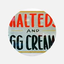 """NYC: Malteds and Egg Creams 3.5"""" Button"""