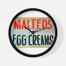NYC: Malteds and Egg Creams Wall Clock