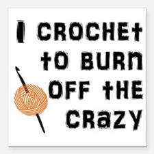 "Crazy Crochet Square Car Magnet 3"" x 3"""