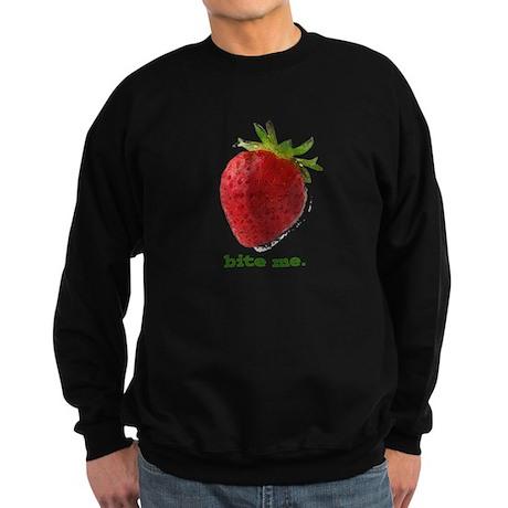 funny bite me strawberry Sweatshirt (dark)