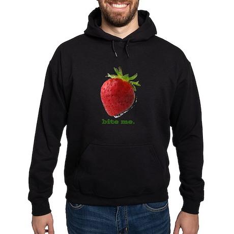 funny bite me strawberry Hoodie (dark)