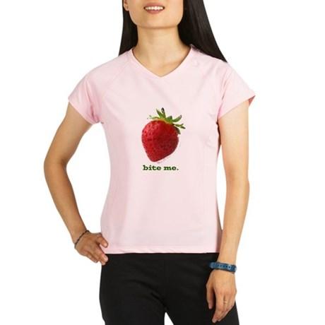 funny bite me strawberry Performance Dry T-Shirt