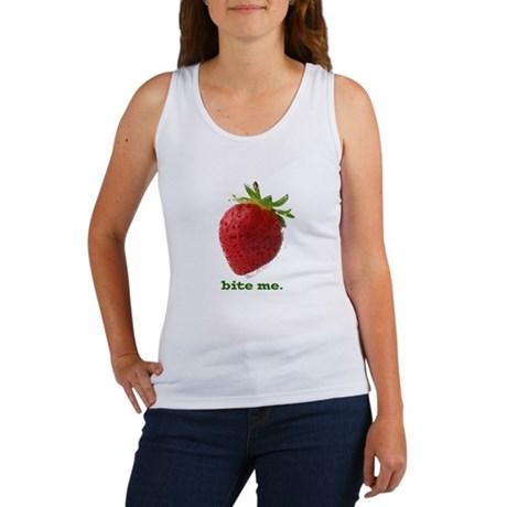funny bite me strawberry Women's Tank Top