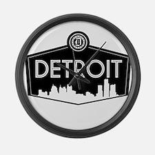Retro Detroit Large Wall Clock