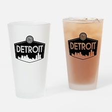 Retro Detroit Drinking Glass