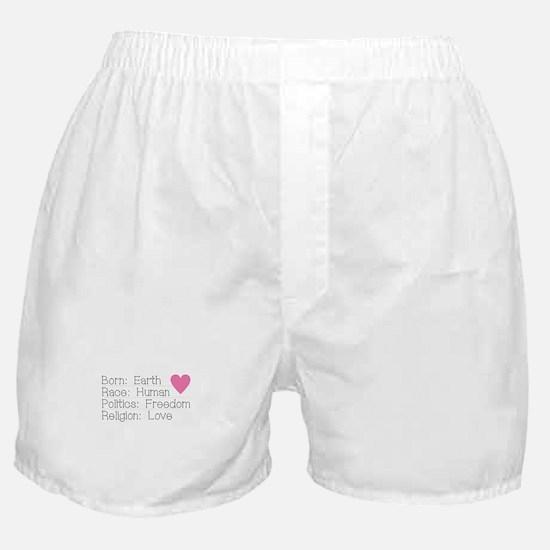 Born Race Politics Religion Boxer Shorts