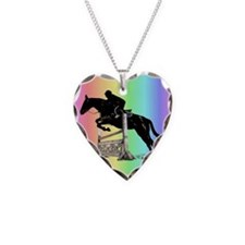 Rainbow Jumping Horse Necklace Heart Charm