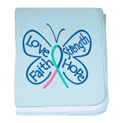 Thyroid Cancer Butterfly Words baby blanket