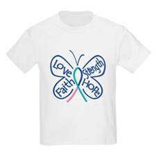 Thyroid Cancer Butterfly Words T-Shirt
