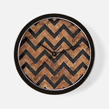 CHEVRON9 BLACK MARBLE & BROWN STONE (R) Wall Clock