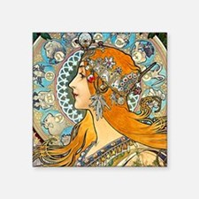 "Mucha - La Plume Square Sticker 3"" x 3"""