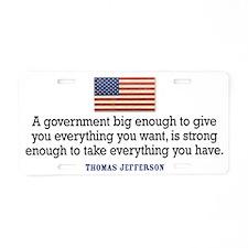 Jefferson Quote Aluminum License Plate