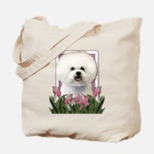 Mothers Day Pink Tulips Bichon Tote Bag