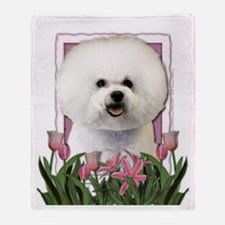 Mothers Day Pink Tulips Bichon Throw Blanket
